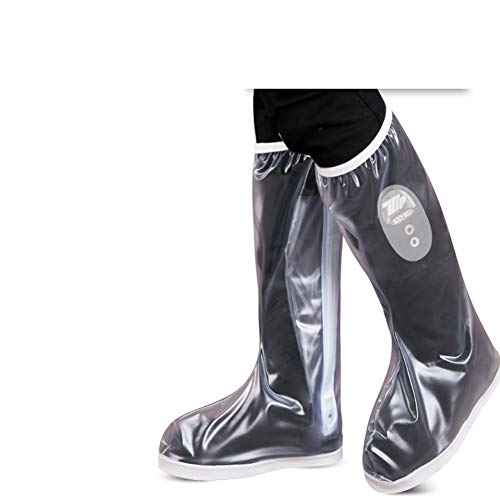 Warmth Supplies High Tube Rain Boots Set Waterproof Rainy Day Slip Riding Shoes Cover Thick Shoe Cover,Transparentwhite,XL Set Rain Boot