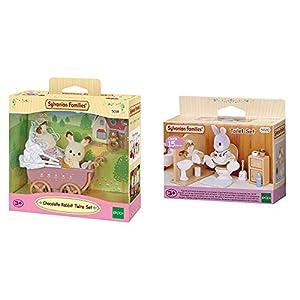 SYLVANIAN FAMILIES Sylvanian Families-8711915022064 Set Gemelos Conejos Chocolate con Cochecito, (Epoch para Imaginar 5018) + Toilet Set Mini muñecas y Accesorios, (Epoch para Imaginar 3563)