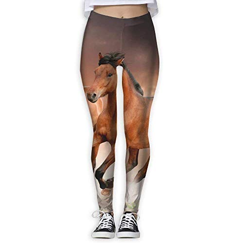 Deglogse Pantaloni da Yoga, Leggings da Allenamento,Brown Horse Racing Women's Stretchable Sports Running Yoga Workout Leggings Pants