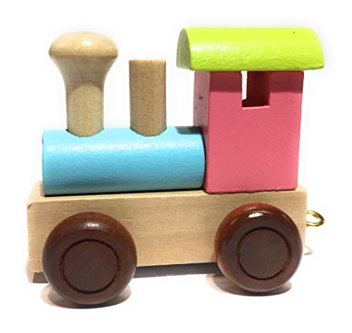 Buchstabenzug | Wunschname zusammenstellen | Holzeisenbahn | EbyReo® Namenszug aus Holz | personalisierbar | auch als Geschenk Set (Lokomotive bunt)
