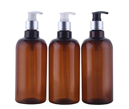 3PCS 500ML/17unze Braun nachfüllbare leere Plastikpumpen Duschlotionsspender -Flaschen - kosmetisches Bad-Duscheshampoo-Haar-Conditioner-flüssige Lotion-Speicher-Behälter (Pumpen-Farbe gelegentlich)