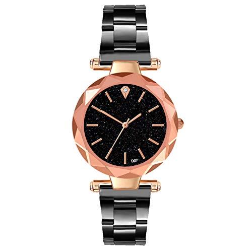Schwarzen Rand Beine (XZDCDJ Damen Uhr Armbanduhr Mode einfache sternenklare Zifferblatt Edelstahlarmband Rand weibliche Uhr Jude Geschenk Jungen Uhr)