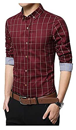 IndoPrimo Men's Cotton Casual Fancy Shirt for Men Full Sleeves (Red, Small - 38)