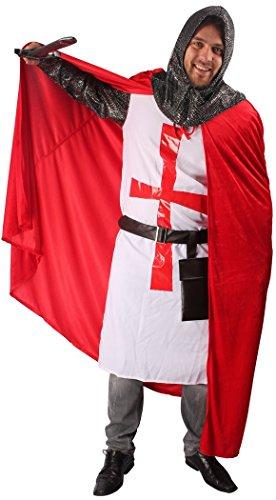 5-teiliges Kreuz-Ritter Kostüm-Set für Herren | Größe 58/60 | Kämpfer Kostümierung für Karneval | Krieger-Verkleidung in Rot-Weiß für Fasching | Mittelalter Karnevalskostüm für Fastnacht & Mottopartys - 6