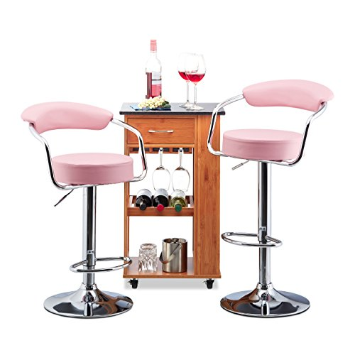 Relaxdays Bar Hocker Set von 2, höhenverstellbar, drehbar, Rückenlehne, Metall Bistro Stuhl, HxBxT: 106x 52x 50cm, pink