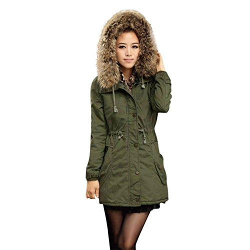 Y Frauen Jacke Mit Kapuze Plus Size Slim-Fit Warme Mantel Langer Mantel Winter Jacken (XL, Armeegrün) (In Voller Länge Cape)