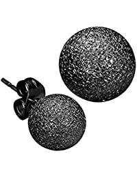 iJewelry2 Stainless Steel Black Tone Stardust Sandblasted Bead Ball Stud Unisex Earrings 6mm