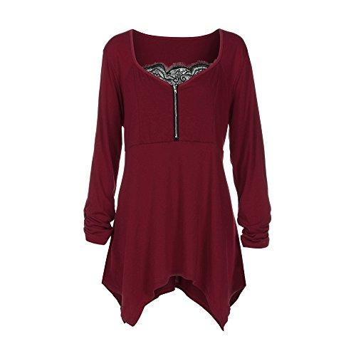 MORCHAN Grande Taille Femmes Dames Zipper Dentelle T-Shirt à Manches Longues Tops Blouse(FR-54/CN-5XL,Rouge)