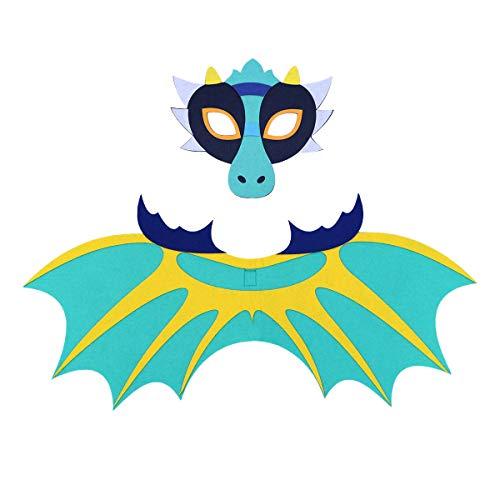 BESTOYARD Disfraz de Dragón con Mascára y Alas Azul para Accesorios de Disfraz de Halloween de Niños