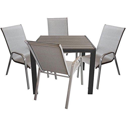 Multistore 2002 5tlg. Gartenganitur Aluminium Gartentisch mit Polywood-Tischplatte 90x90cm + Stapelstuhl mit Textilenbespannung Gartenmöbel Sitzgruppe Sitzgarnitur
