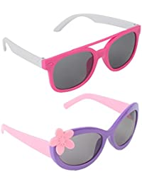 Stol'n Kids Wayfarer And Flower Sunglasses Combo Pack Of 2 Pieces For Girls/Pink And White/Pink And Purple