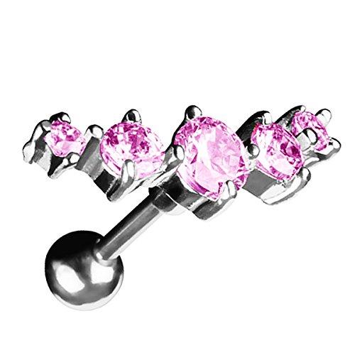 Recht Piercing Helix (Piersando Tragus Helix Ohr Piercing Cartilage Knorpel Stab Stecker 316 L Chirurgenstahl 5 Zirkonia Silber Rosa)