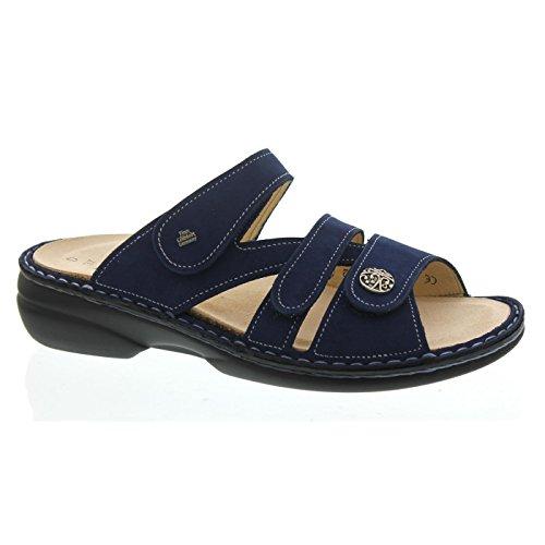 FINN COMFORT Ventura-Soft- Damenschuhe Pantolette/Zehentrenner, Blau, Leder (Nubuk)