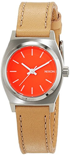 nixon-damen-armbanduhr-small-time-teller-bright-coral-natural-analog-quarz-leder-a5092055-00