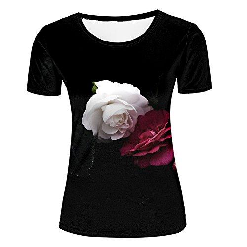 JINGTEE 3D Tshirts Women Silhouette Black Rose Casual Graphics Tees M (Black Inkjet 15)