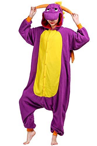 Pijama Animados Kigurumi Cosplay Dragón Púrpura Animal para Adulto Unisex