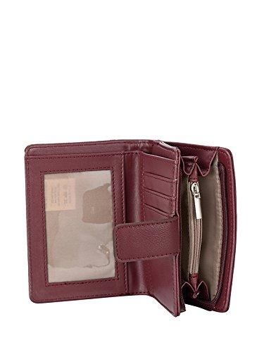Pulsante casual MENKAI borsa del portafoglio e cerniera laterale disegno 1614 Marrone Wind Red