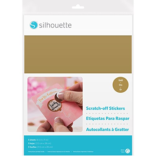 Silhouette MEDIA-SCRATCH-GLD Rectangle Or étiquette auto-collante - Étiquettes auto-collantes (Or, Rectangle, 215,9 mm, 279,4 mm, 5 feuilles)