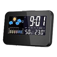 جهاز قياس درجة الحرارة، مقياس الحرارة والرطوبة مع ساعة رقمية ومنبه - اسود