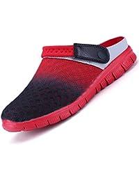 Unitysow Hombres Zuecos Zapatillas de Playa Respirable Malla Ahueca hacia Fuera Las Sandalias Zapatos Verano Ligeros Antideslizante Slippers EU36-46