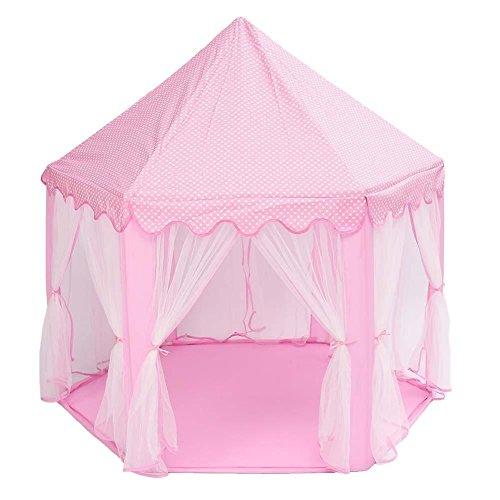 CHENG YUAN 1 STÜCK 3 Farbe Tragbare Kinder Kinder Spielen Zelte Outdoor Garten Klapp Spielzeug Zelt Pop Up Kinder Mädchen Prinzessin Schloss Outdoor Haus Kinder Zelt (pink)
