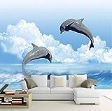 Yirenfeng Benutzerdefinierte Wandbild Tapete Springen Delphin 3D Fototapete Für Schlafzimmer Wohnzimmer Tv Sofa Hintergrund Wandbild Wand Papierrolle140X70CM