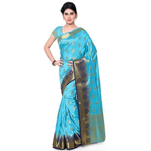 Varkala Silk Sarees Women's Art Silk Banarasi Saree With Blouse Piece(ND1007ADNB_Turquoise Blue_Free Size)