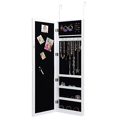 Costway armadietto per gioielli armadio portagioie da parete con specchio e porta con chiusura magnetica, vari colori disponibili, 37 x 6,7 x 120 cm (bianco)