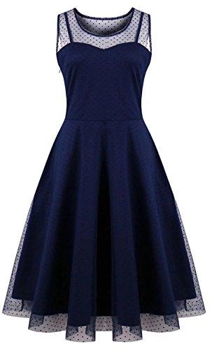 Oriention Oriention Plus Größe Elegant Damen festliche Kleider Spitzenkleid Cocktailkleid Knielanges Vintage 50er Jahr hochzeit Party 5XL EU Size 52 (Blau Für Kleider Frauen Groß)