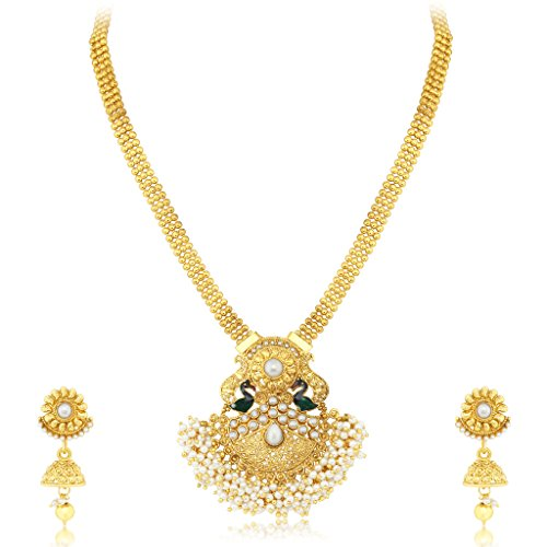 Sukkhi Stunning Peacock Gold Plated Necklace set For Women  available at amazon for Rs.479