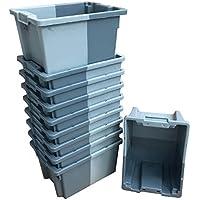 Pack de 10 x 16 litros gris pequeño apilado/nido 180º caja de almacenamiento de plástico contenedor caja de almacenamiento – 400 x 300 mm Euroapilable/resistencia industrial anidable