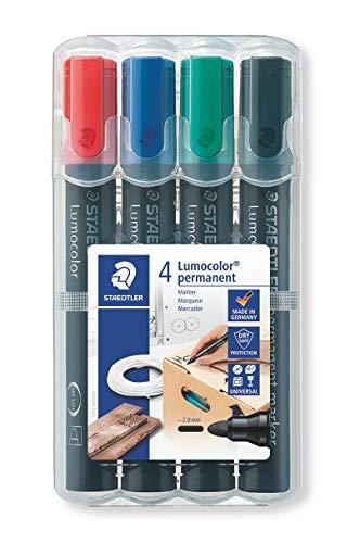 STAEDTLER Lumocolor permanent marker, confezione da 4 colori, 352 WP4