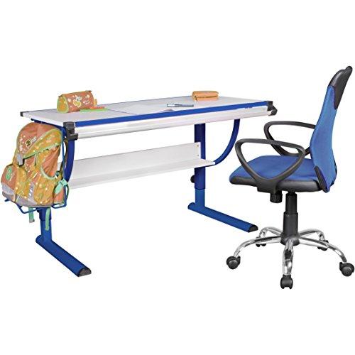 FineBuy Design Kinderschreibtisch MIKEY Holz 120 x 60 cm blau / weiß | Jungen-Schülerschreibtisch neigungs-verstellbar | Schreibtisch Kinder höhenverstellbar
