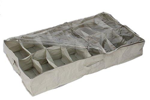 ~ Contenitore portascarpe in tela resistente, per riporre fino a 16 paia sotto al letto, materiale tipo Oxford 600D in PVC trasparente con coperchio, 15 x 60 x 100 cm, colore: Bianco – por Brilliant Feet prezzo