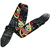 PsmGoods Adjustable Buckle Guitar Strap With Skull Print Jacquard And Leather Ends (skull print)