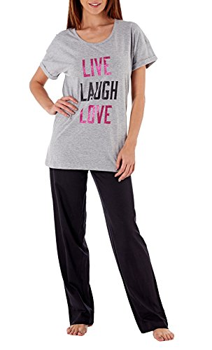 i-Smalls Damen Pyjama Set Top mit Cap Sleeve Live Laugh Love Glitzer Print und Schwarze Hosen (38-40) Grau -