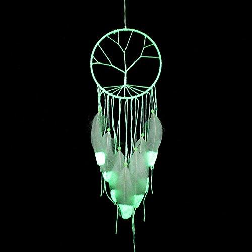 Baum des Lebens Traumfänger glühen im Dunkeln handmade Dreamcatcher mit Perlen Feder Quaste Wandbehang Dekoration Zimmer Dekor Party Hochzeit Ornament - weiß