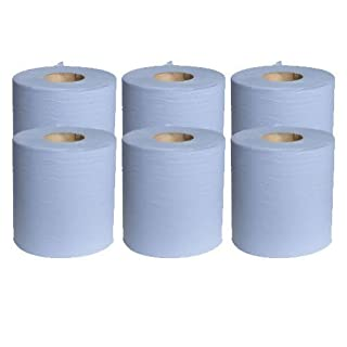 5 X 6 x Blue Paper Rolls - 2 Ply Embossed Centre Feed - Hand Towel - 130 Metre by AP Automotive