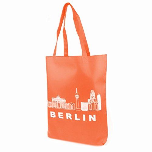 Berlin Jutebeutel Hipster Tasche Shopper Stofftasche Einkaufstasche Freizeittasche Beutel Souvenir Andenken Einkaufsbeutel #100927 Grün Orange