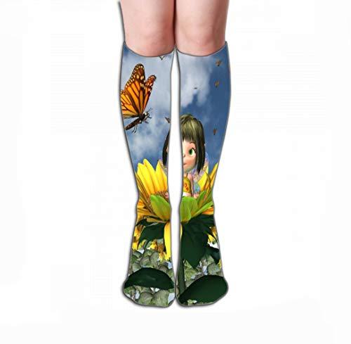 Hohe Socken Men Women Outdoor Sports High Socks Stocking Baby Sunflower Fairy Summer Background Dreamy Tile Length 19.7