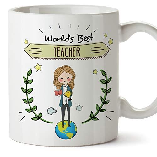 MUGFFINS (Taza en inglés) Teacher Original Mug Cup Mejor Maestro del Mundo - 11 oz de cerámica