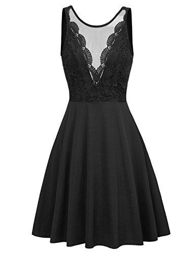 GRACE KARIN Mujer Vintage Vestido de Encaje para Cóctel Fiesta Negro