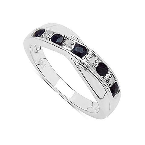 La Collection Bague Saphir : Bague Saphir noir et set les Diamants, Bague en argent, Parfait pour le Cadeau Anniversaire, Éternité Taille bague 58