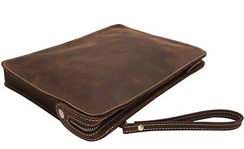 Xinmaoyuan uomini borsette File borsa tracolla Borsa Messenger Bag Vacchetta Borsa maschio,marrone scuro Marrone scuro