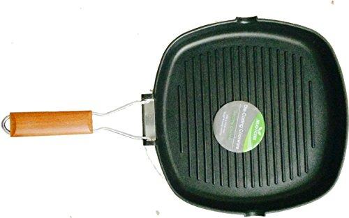 Verdi - Bistecchiera quadrata antiaderente con manico in legno, 28