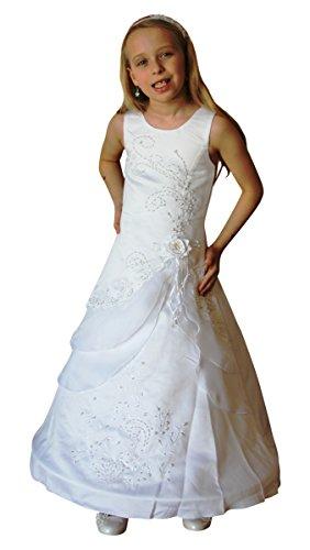 BIMARO Kommunionkleid Linette weiß Festkleid Lang mit Reifrock Edler Satin Blüten Perlen Kommunion Festlich, Größe:14 (164/170)