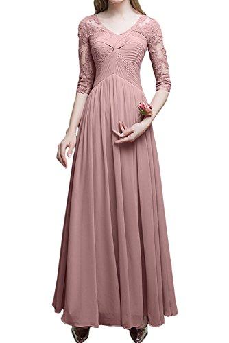 Ivydressing Damen Hochwertig Abendkleider Lang Mit Aermeln Ballkleid Festkleid Brautmutterkleider Perlenrosa