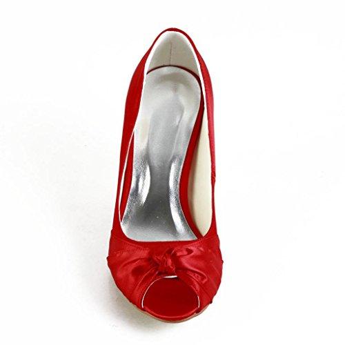 Jia Jia Wedding A31B22Scarpe Sposa Scarpe col tacco donna Rosso