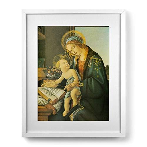 LibreriadelSanto.it Gemälde Madonna del Libro von Botticelli mit Passe-partout und Rahmen Minimal -