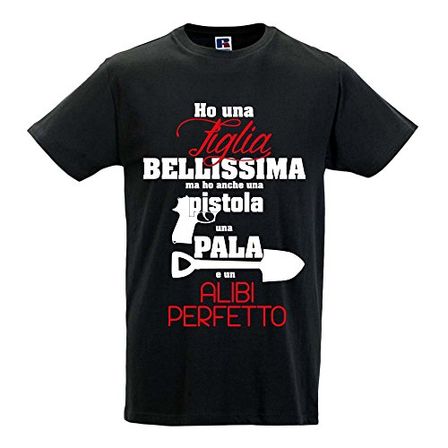 T shirt maglia maglietta idea regalo per il papa' ho una pistola e una pala xl nera